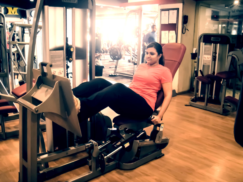 Girl doing leg press
