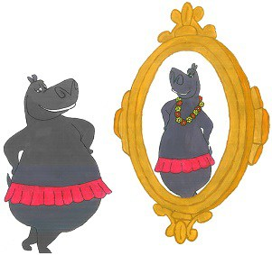 A fat stupid hippo sees itself in mirror and visualizes itself as a thinner version