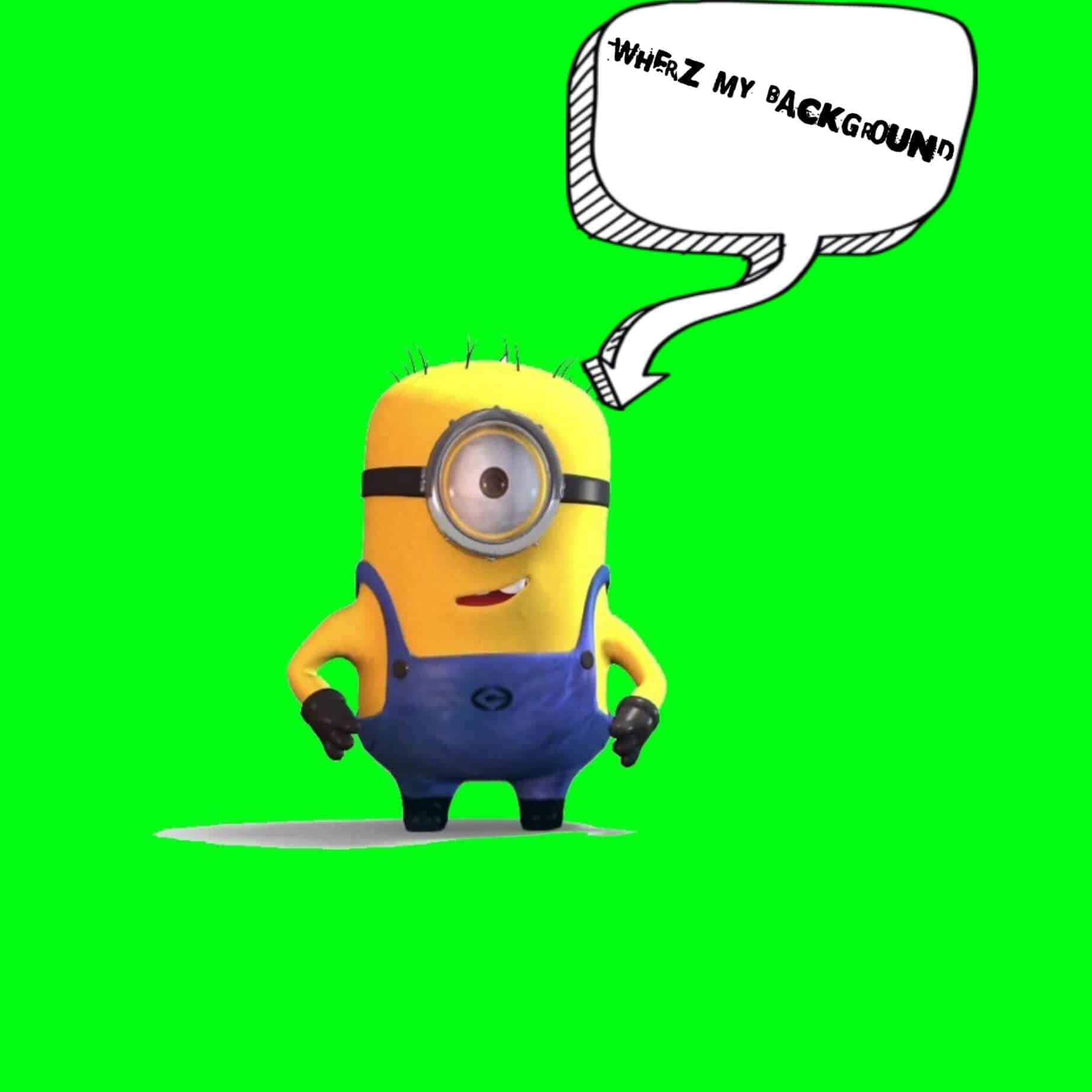 Green screen with a Minion as subject