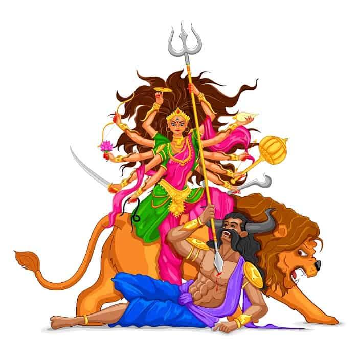 Illustration of goddess Durga killing the demon Mahishasura
