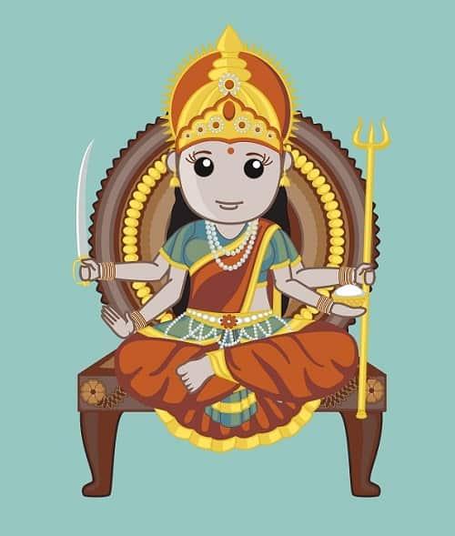 Illustration of Goddess Santoshi
