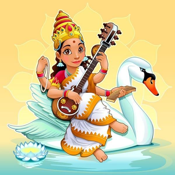 Saraswati, Hindu goddess of knowledge, music, arts, wisdom and learning. Vector cartoon illustration.