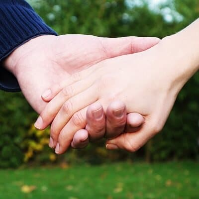 Letting go of the other persons hand.