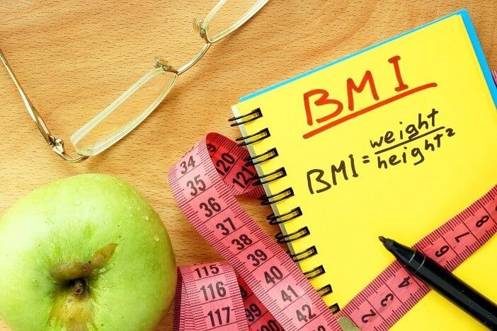 Body Mass Index formula on a notepad.