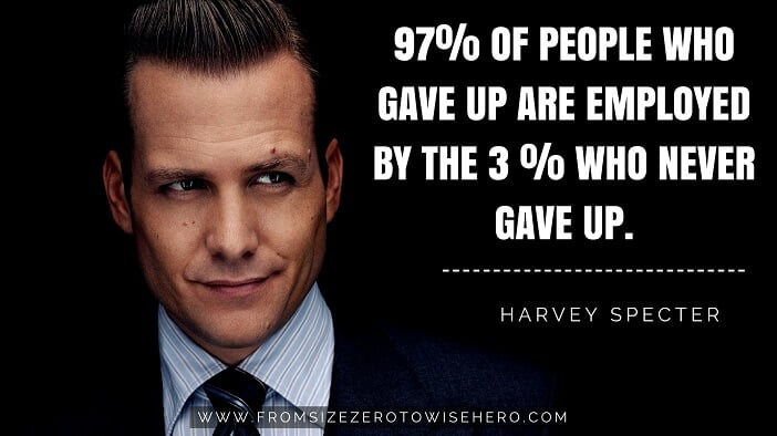 "Harvey Specter Quote, ""97% OF PEOPLE WHO GAVE UP ARE EMPLOYED BY THE 3 % WHO NEVER GAVE UP""."