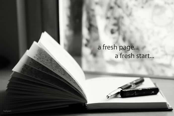 Quote- A fresh page, a fresh start...