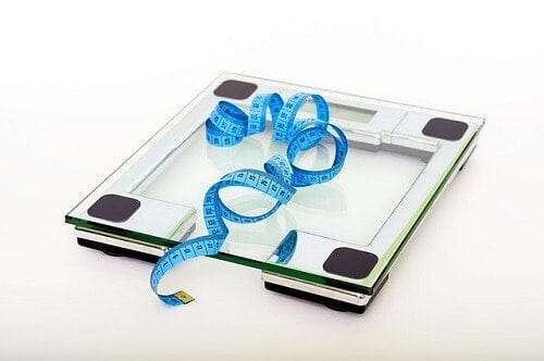 Weighing scale and a measuring tape.